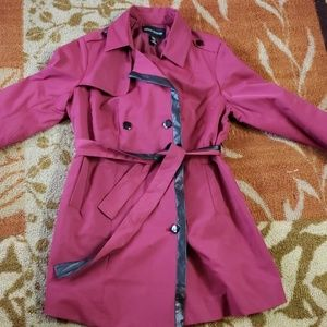 Plus size trench coat with faux leather detail.